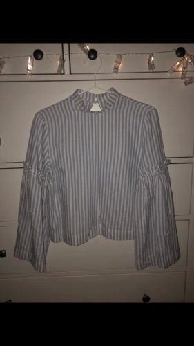 Bluse mit Puffärmeln (blau-weiß gestreift)