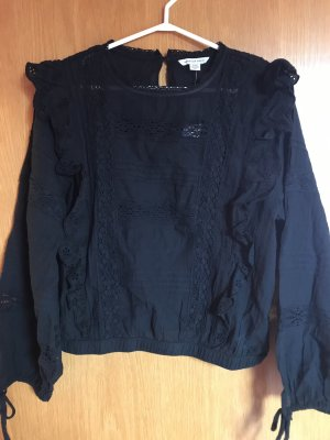 American Eagle Outfitters Bluzka z falbankami czarny