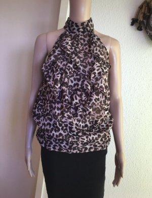 Ann Christine Ruche blouse zwart bruin-lichtbruin