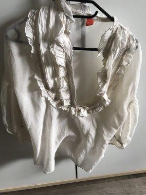 Bluse mit Rüsschen in Creme