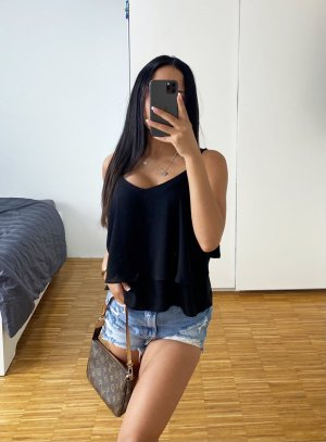 Bluse mit Rüsschen Schwarz