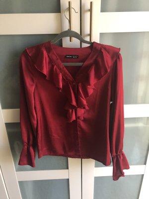 Sheinside Blusa brillante rosso scuro