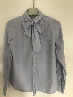 H&M Tie-neck Blouse azure cotton