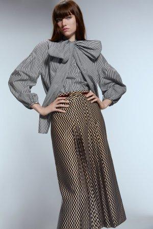 Zara Tie-neck Blouse white-black cotton