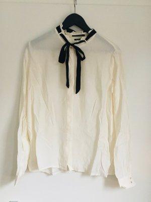 Maison Scotch Tie-neck Blouse white-black