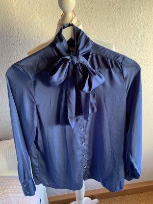 H&M Blouse avec noeuds bleu acier