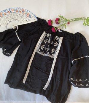 andere Marke Blouse à manches courtes noir-blanc