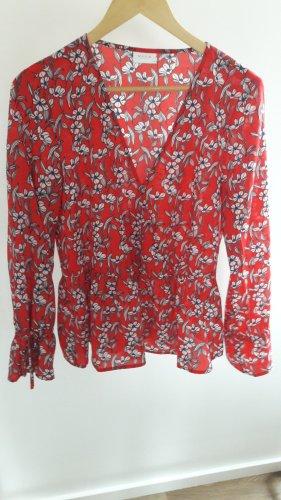 Bluse mit Schößchen in Wickeloptik