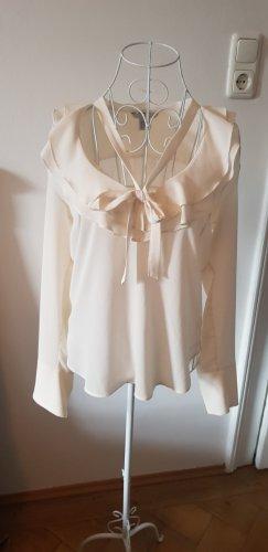 H&M Blusa con lazo crema-beige claro
