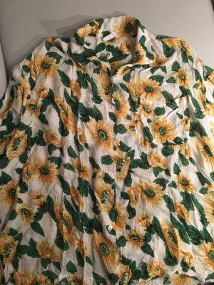 Bluse mit Sonnenblumen, Gr. 48, wie NEU