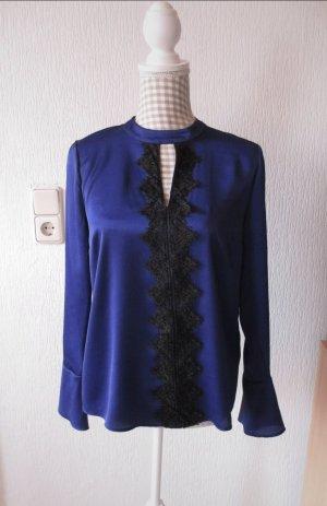 Atmosphere Glanzende blouse zwart-donkerblauw