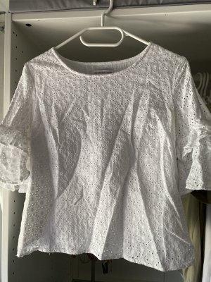 Bluse mit spitze weiß