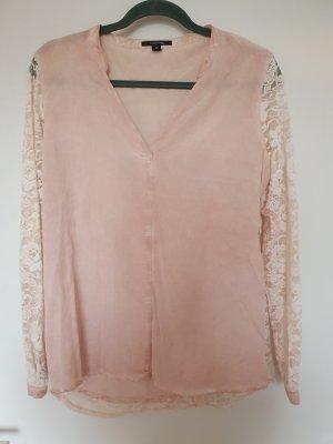 Comma Blusa in merletto bianco sporco-rosa antico