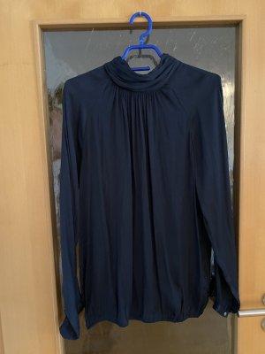 Bluse mit Stehkragen dunkelblau