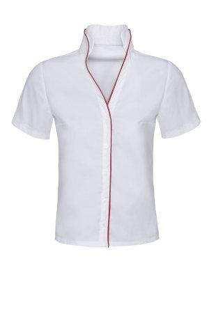 Blouse à col montant blanc-rouge coton