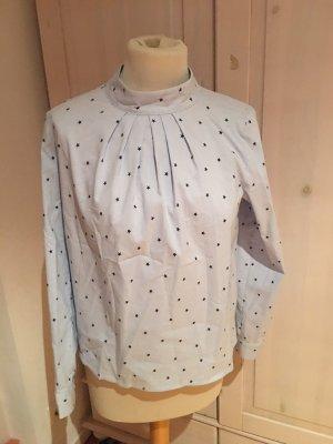 H&M Bluzka ze stójką błękitny-biały