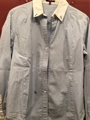 0039 Italy Koszulowa bluzka jasnoszary-biały Bawełna