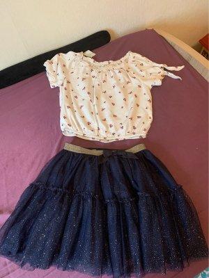 H&M Falda de encaje azul oscuro