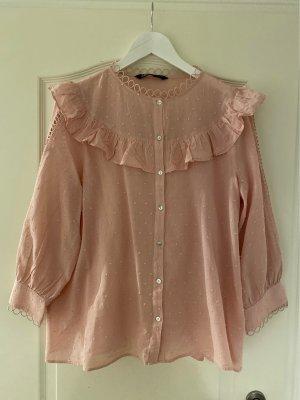 Zara Ruche blouse stoffig roze-rosé Katoen