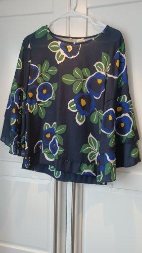 Bluse mit Trompetenärmeln, grosse Blüten, Gr. 34