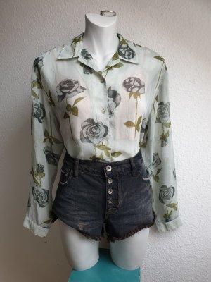 Bluse mit Vintage Blumenprint, leicht durchsichtig