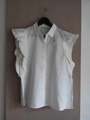Bluse mit Volant-Ärmeln aus Leinen und  Baumwolle, Größe M neu