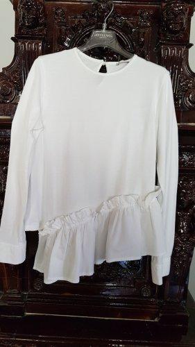 Zara Bluzka z falbankami w kolorze białej wełny