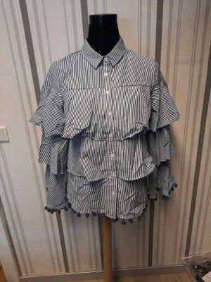 Bluse mit Volants Größe L Neu in blau/weiß