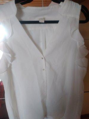 H&M Conscious Collection Bluzka ze stójką w kolorze białej wełny