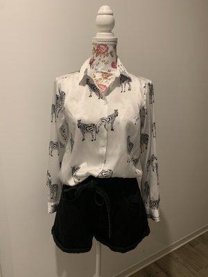Zara Połyskująca bluzka biały-czarny