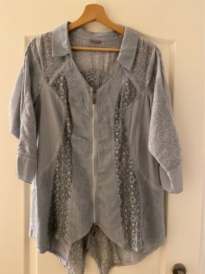 Tredy Lace Blouse sage green-pale blue spandex