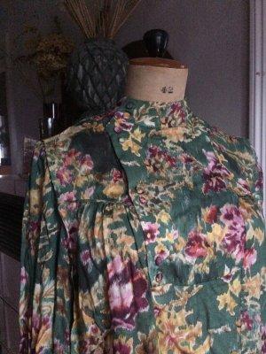 Bluse MNG Gr. S/38, assymetrische Knopfleiste, begehrt, Grüntöne, Floral