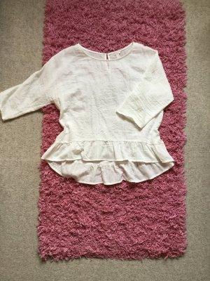 Esprit Bluzka z falbankami w kolorze białej wełny