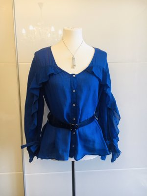 Zara Ruffled Blouse blue-neon blue