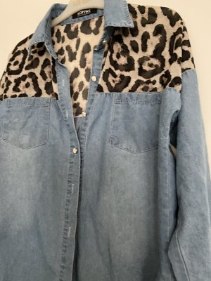 Romwe Camicia blusa blu acciaio