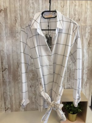 talk about Checked Blouse white-grey