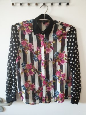 Bluse Obertei Hemd Blume Punkte Streifen Topshop Gr.38 neuwertig!