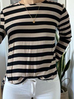 Bluse - Oberteil - Longsleeve - Shirt -Knöpfe - blau - beige - creme - gestreift - H&M