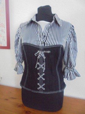 markenloses Blusa brillante nero-bianco
