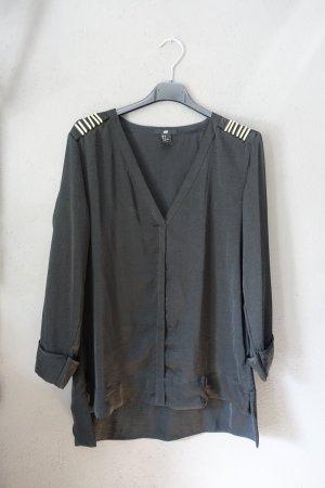 Bluse, Oberteil, Shirt, H&M, mit Schulterdekor, V-Ausschnitt