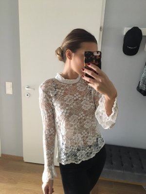 Topshop Blusa de encaje blanco