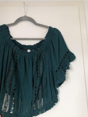 Bluse Oberteil T-Shirt Grün mit Rüschen und Gummizug Crop