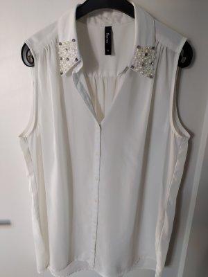 Bluse ohne Arm gr M weiß mit Schmuckkragen