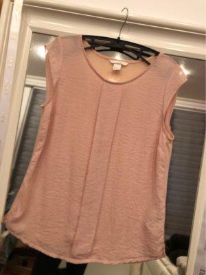 H&M Mouwloze blouse rosé-stoffig roze