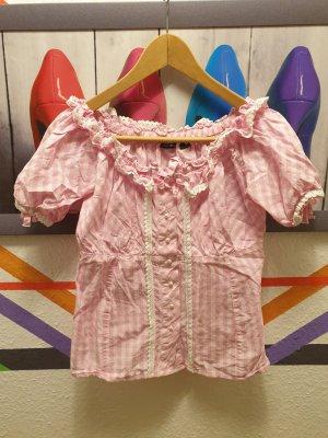 Esmara Blusa folclórica blanco-rosa claro