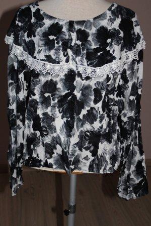 Bluse Opus schwarz weiß Spitze Gr. 42 44 Blumen