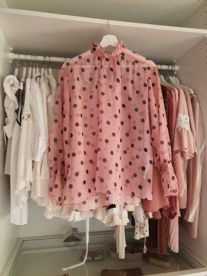 Bluse Organza Rosa Tupfen Punkte Zara Tunika XS