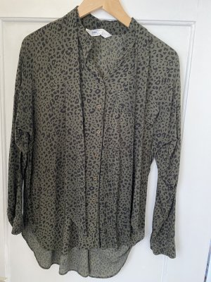 Zara Oversized blouse zwart-khaki
