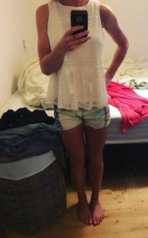 Bluse peplum oversized Gr. 36 (S - M) spitze weiß Pieces Top Shirt