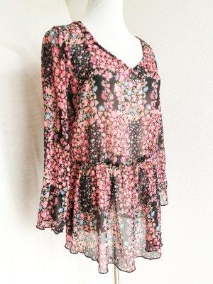 Bluse pink Blumen Sommer Tunika durchsichtig